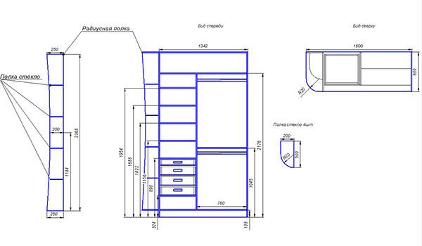 Фото схема размещения радиусных полок