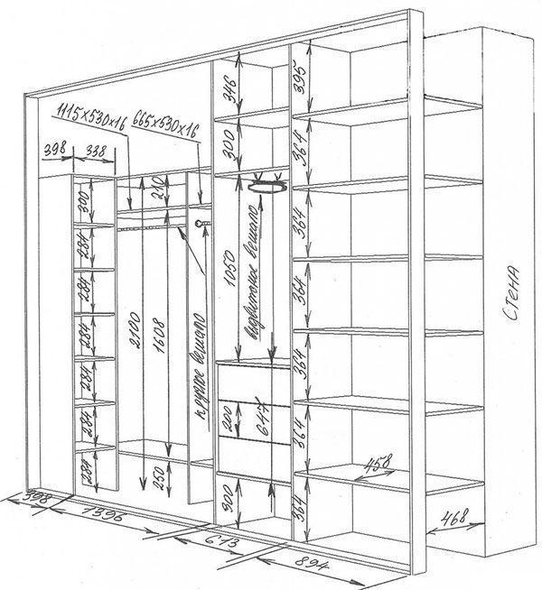 Фото чертежа шкафа купе с размерами