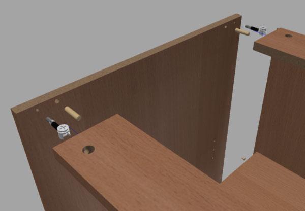 Фото крепления деталей боковин шкафа-купе