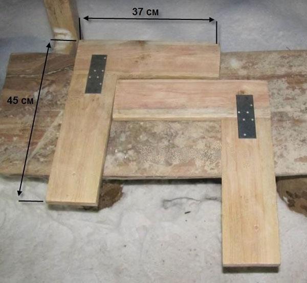 Фото скамейка трансформер и крепление ножек-уголков