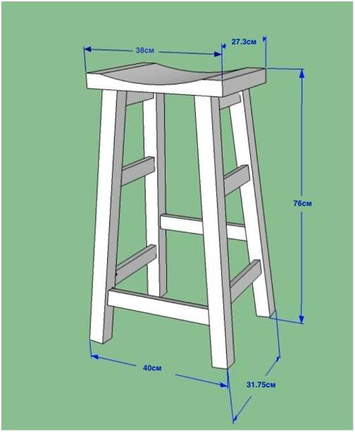 Барный стул чертеж