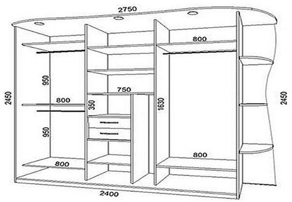 Фото чертеж шкафа купе из гипсокартона