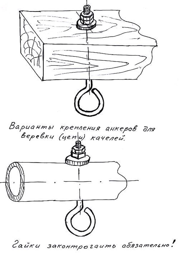 Фото чертеж крепления анкеров у садовых качелей