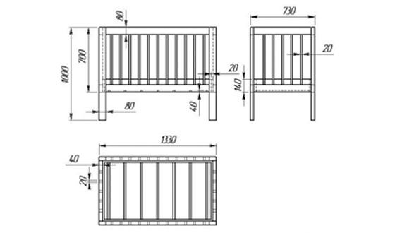 Кроватка чертеж