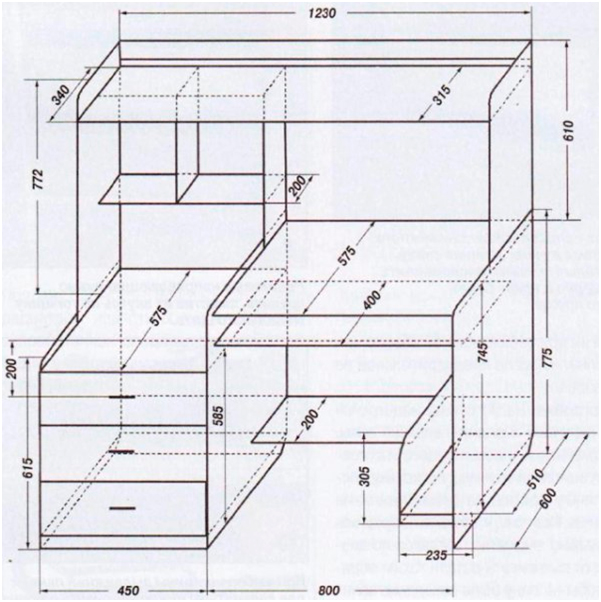 Стол для компьютера схема