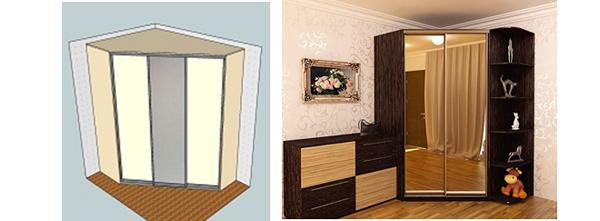 Диагональный шкаф
