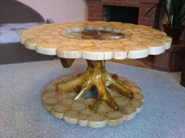 Фото стола из спилов дерева своими руками