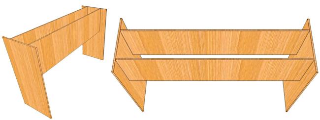 Первый этап сборки стола из фанеры