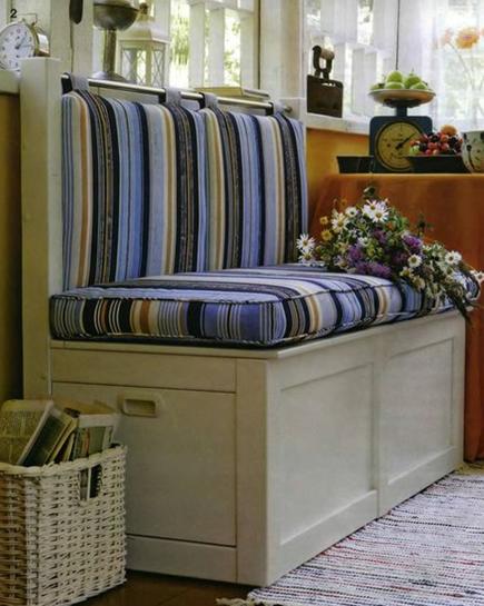 Варианты обустройства мягкого сиденья лавки-сундука