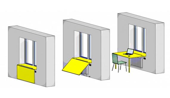 Откидной стол-подоконник с фигурной столешницей
