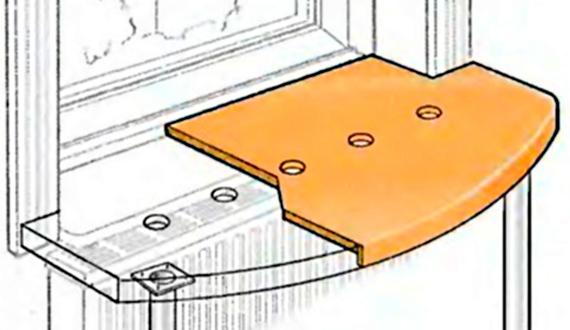 Схема стационарного встроенного стола-подоконника