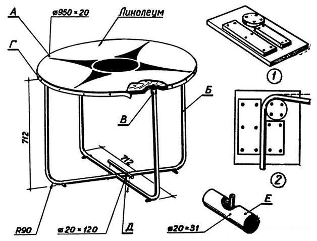 Конструкция круглого стола
