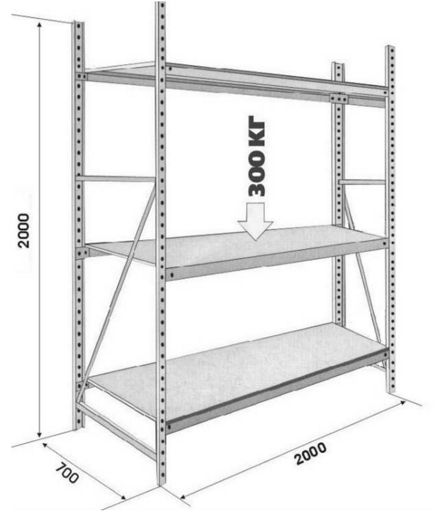 DIY metal shelving: instructions and drawings.