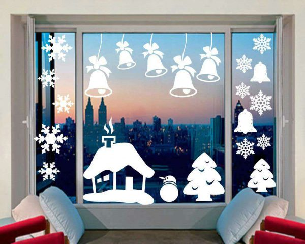 We decorate the windows for the New Year 2019 with our own hands (templates).
