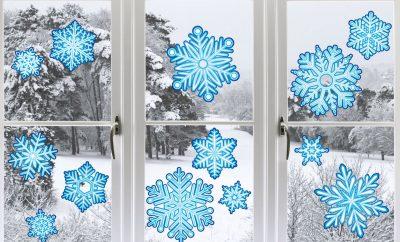 снежинки для украшения окна на Новый год