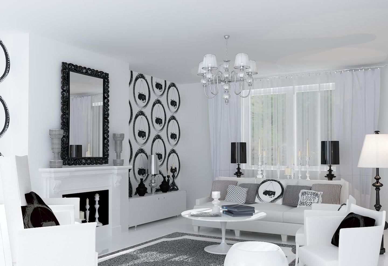 Черно белые фото в интерьере гостиной таким