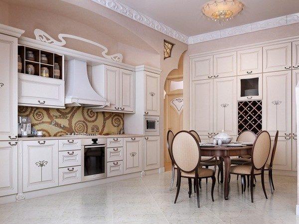 Идеи интерьера кухни-столовой в классическом стиле в частном доме