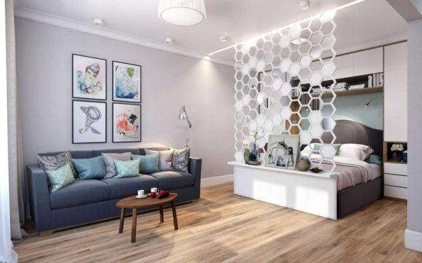 Идеи как разделить комнату на две зоны спальню и гостиную