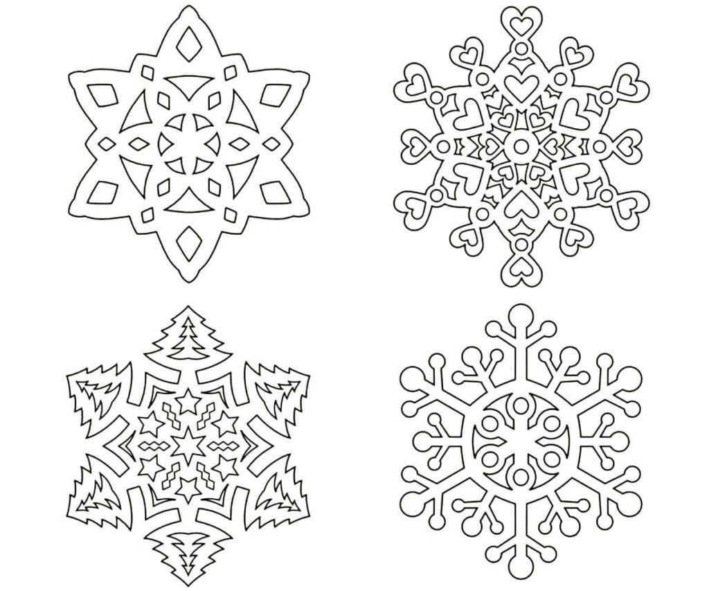Трафареты снежинок для вырезания из бумаги