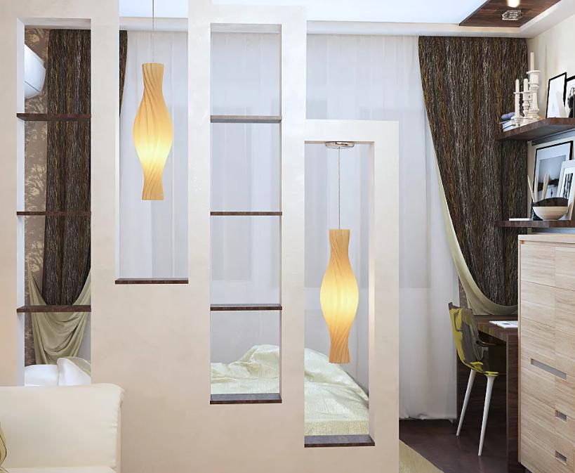 Современные идеи разделения комнаты на две зоны